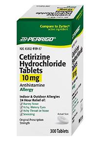 Perrigo Cetirizine Hydrochloride Tablets 10mg, 300-Count